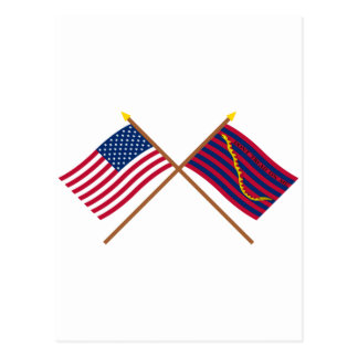 Crossed US and South Carolina Navy Flags Post Cards