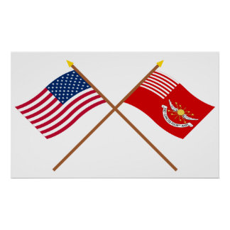 Crossed US and Tallmadge s Dragoons Flags Poster
