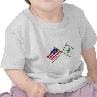 Crossed US and Washington's Cruisers Flags Tshirt