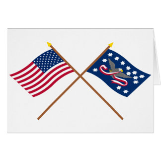 Crossed US and Whiskey Rebellion Flags Card