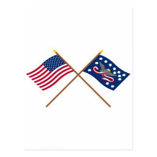 Crossed US and Whiskey Rebellion Flags Postcards