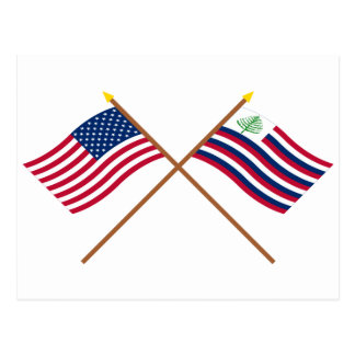 Crossed US Flag and New England Navy Ensign Postcard