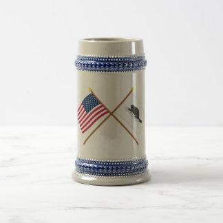 Crossed US Flag and New York Ensign Beer Steins