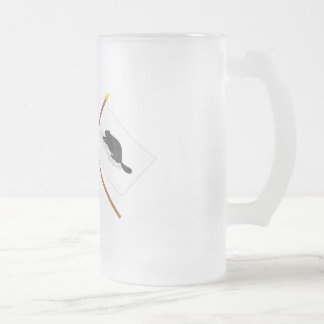 Crossed US Flag and New York Ensign Frosted Glass Beer Mug
