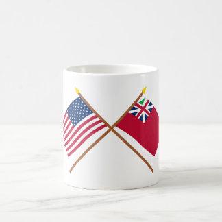Crossed US Flag and  Pine Tree Red Ensign Basic White Mug