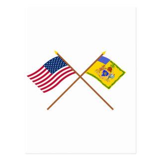 Crossed US Flag & Philadelphia Light Horse Colour Postcard
