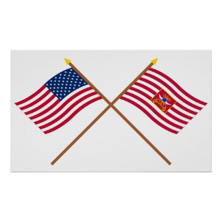 Crossed USA and Sheldon s Horse Flags Print