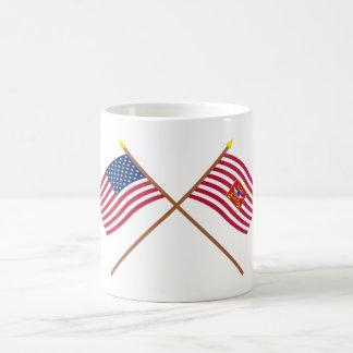 Crossed USA and Sheldon's Horse Flags Coffee Mugs