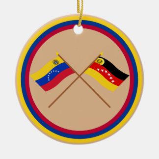 Crossed Venezuela and Miranda Flags Round Ceramic Decoration
