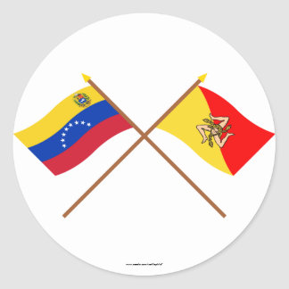 Crossed Venezuela and Sicily Flags Classic Round Sticker