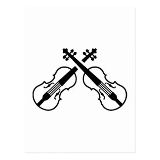 Crossed violin fiddle post card