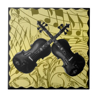 CROSSED VIOLINS ON MUSIC NOTES-TILE SMALL SQUARE TILE