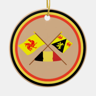 Crossed Walloon and Brabant Flags with Belgium Round Ceramic Decoration