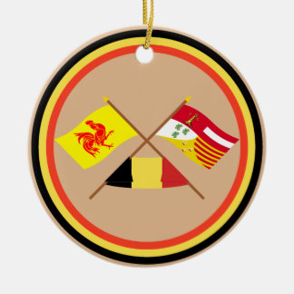 Crossed Walloon and Liège Flags with Belgium Round Ceramic Decoration