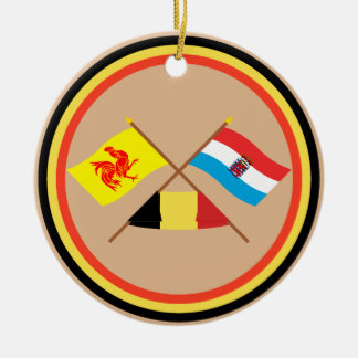 Crossed Walloon and Luxembourg Flags with Belgium Ornament