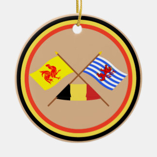 Crossed Walloon and Luxembourg Flags with Belgium Round Ceramic Decoration
