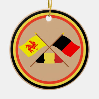 Crossed Walloon and Namur Flags with Belgium Christmas Ornaments