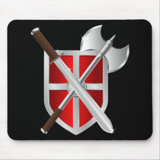 Crossed Weapons on Shield Mouse Mat
