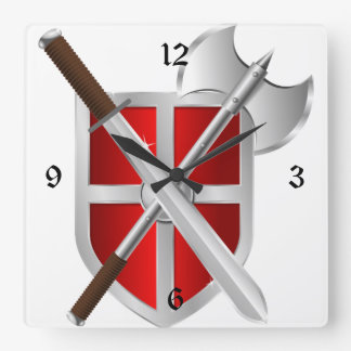 Crossed Weapons on Shield Square Wall Clock