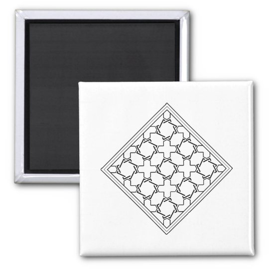 crosses and crowns tessellation 2 square magnet