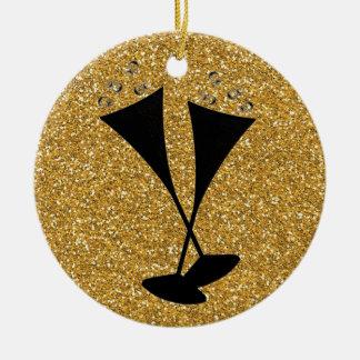 Crosses Black Champagne Glasses on Gold Glitter Round Ceramic Decoration