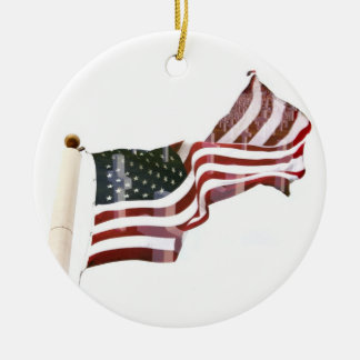Crosses Within Old Glory - Memorial Day Round Ceramic Decoration