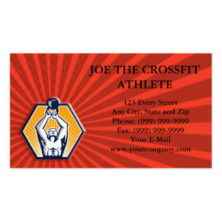Crossift Athlete Lifting Kettlebell Front Retro Business Card Templates