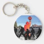 Crossing Guard w/Kids on the Street Keychain