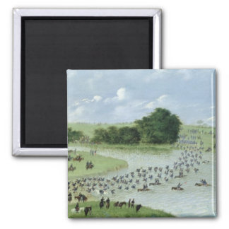 Crossing of the San Joaquin River, Paraguay, 1865 Square Magnet