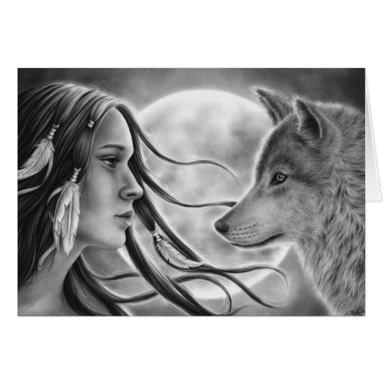 Crossing Spirits Wolf Greeting Card