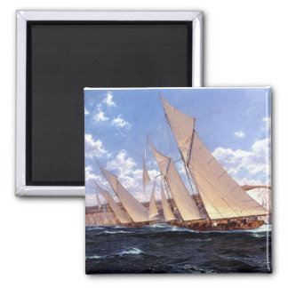 Crossing the starting line square magnet