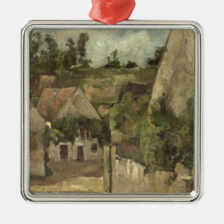 Crossroads at the Rue Remy, Auvers, c.1872 Silver-Colored Square Decoration