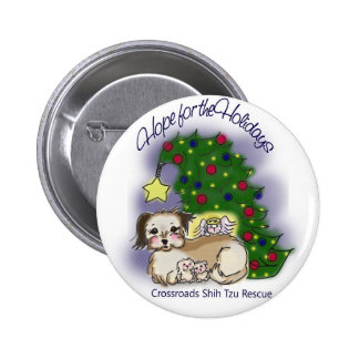 Crossroads Shih Tzu Rescue Hope For the Holidays 6 Cm Round Badge