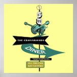 Crossroads Vintage Diner Sign Poster