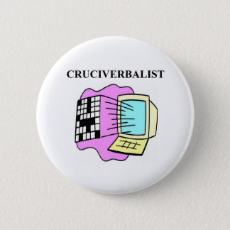 crossword puzzle lover 6 cm round badge