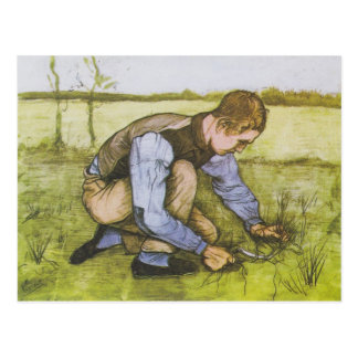Crouching boy with sickle postcard