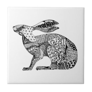 Crouching Hare Small Square Tile