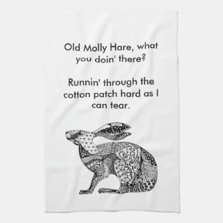 Crouching Hare Tea Towel