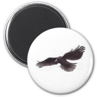 Crow 6 Cm Round Magnet