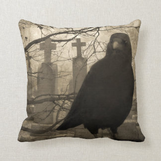 Crow and Crosses Throw Pillow