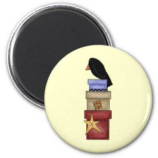 Crow And Gift Boxes 6 Cm Round Magnet