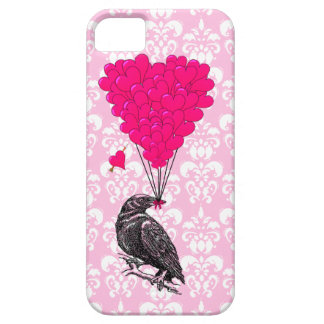 Crow and heart on pink damask case for the iPhone 5