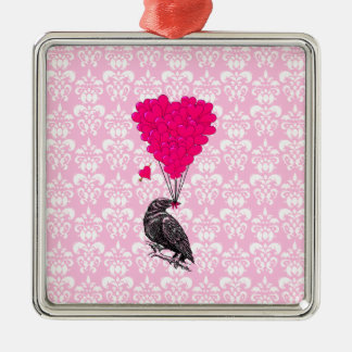 Crow and heart on pink damask christmas ornament