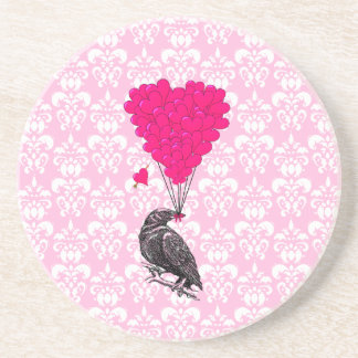 Crow and heart on pink damask coaster
