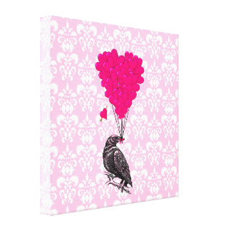 Crow and heart on pink damask gallery wrapped canvas