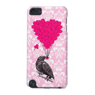 Crow and heart on pink damask iPod touch (5th generation) cover