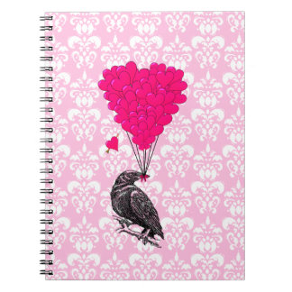 Crow and heart on pink damask spiral notebook