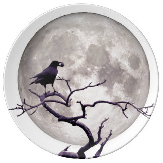 Crow And Moon Raven Fantasy Gothic Night Porcelain Plate