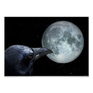 Crow and Moon Raven Night Gothic Fantasy Poster