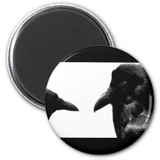 Crow and Raven 6 Cm Round Magnet